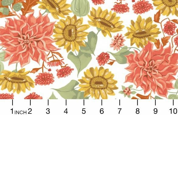 Rae Ritchie Hygee, Autumn Floral in White, Fabric Half-Yards STELLA-SRR1283