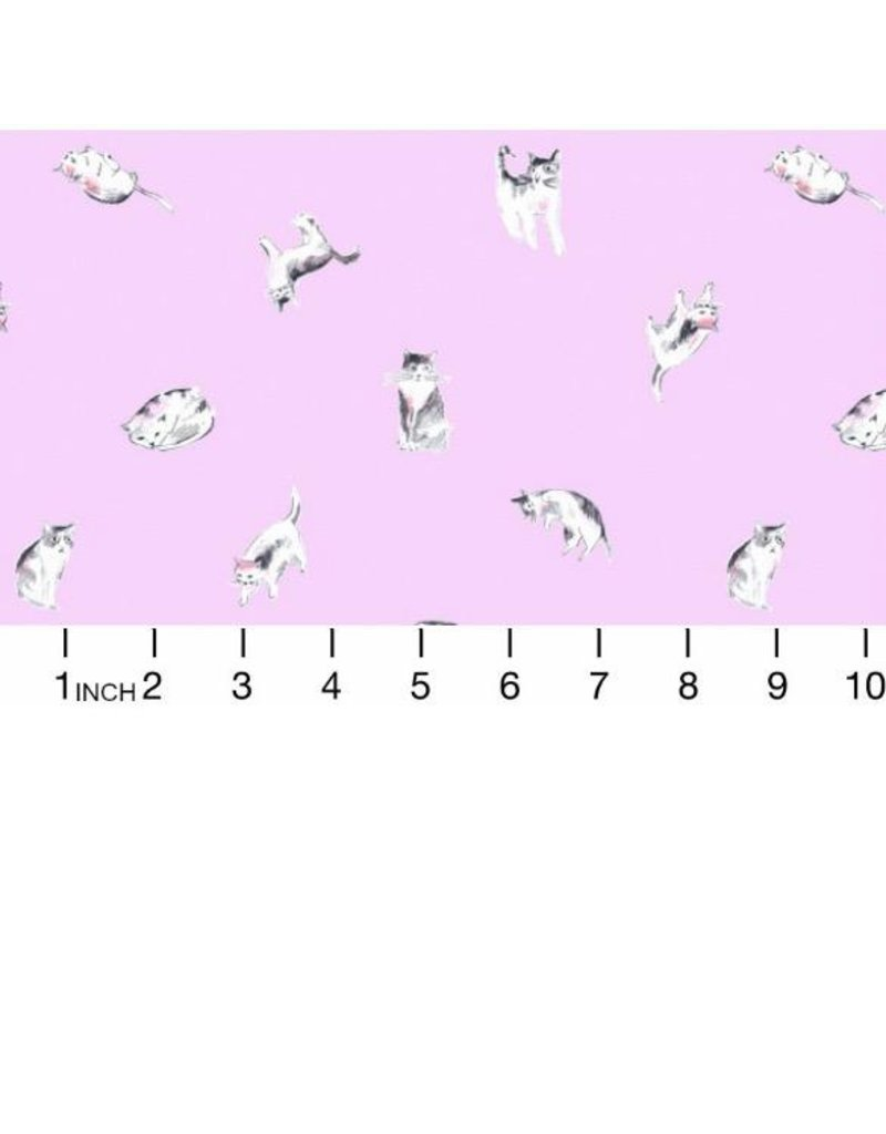PD's Dear Stella Collection Meow Mix, Impawsible Cats in Orchid, Dinner Napkin