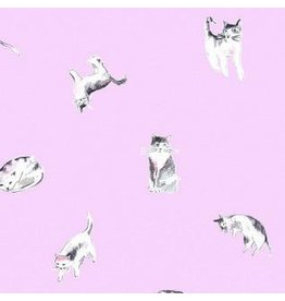 Dear Stella Meow Mix, Impawsible Cats in Orchid, Fabric Half-Yards STELLA-1375