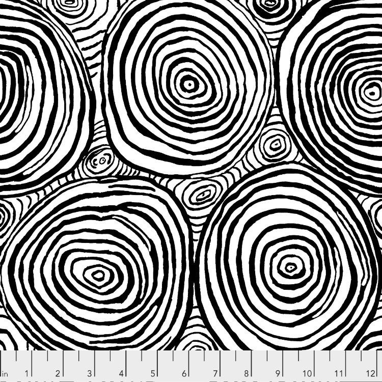 Brandon Mably Kaffe Collective 2019, Onion Rings in Black, Fabric Half-Yards  PWBM070