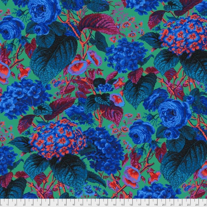 PD's Kaffe Fassett Collection Kaffe Collective 2019, Rose and Hydrangea in Blue, Dinner Napkin