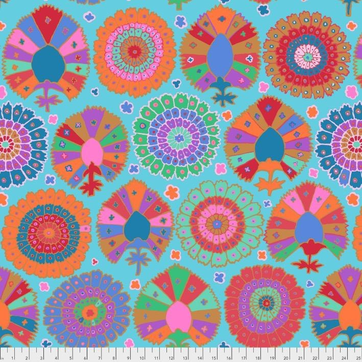 PD's Kaffe Fassett Collection Kaffe Collective 2019, Turkish Delight in Aqua, Dinner Napkin