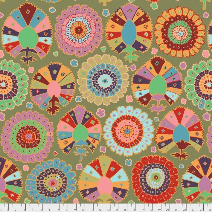 Kaffe Fassett Kaffe Collective 2019, Turkish Delight in Moss, Fabric Half-Yards  PWGP081