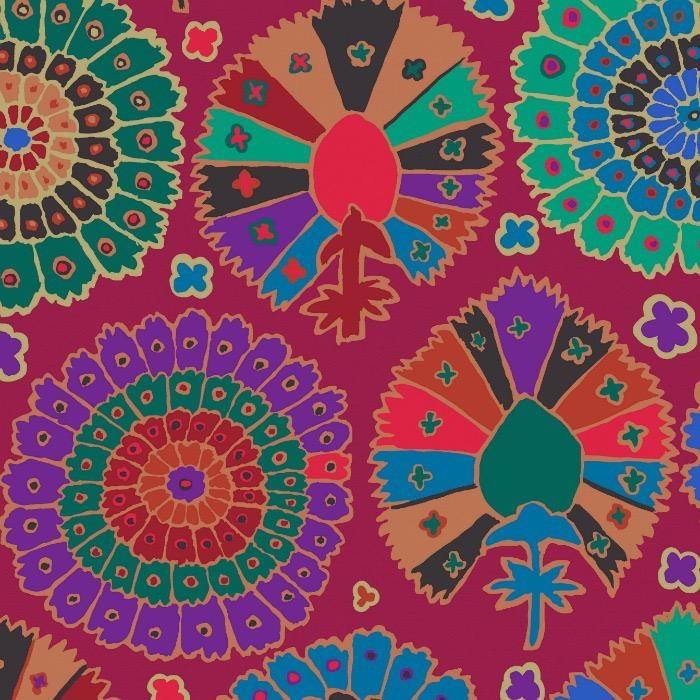Kaffe Fassett Kaffe Collective 2019, Turkish Delight in Wine, Fabric Half-Yards  PWGP081