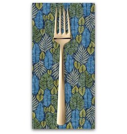 PD's Sevenberry Collection Island Paradise, Palm Fronds in Blue, Dinner Napkin