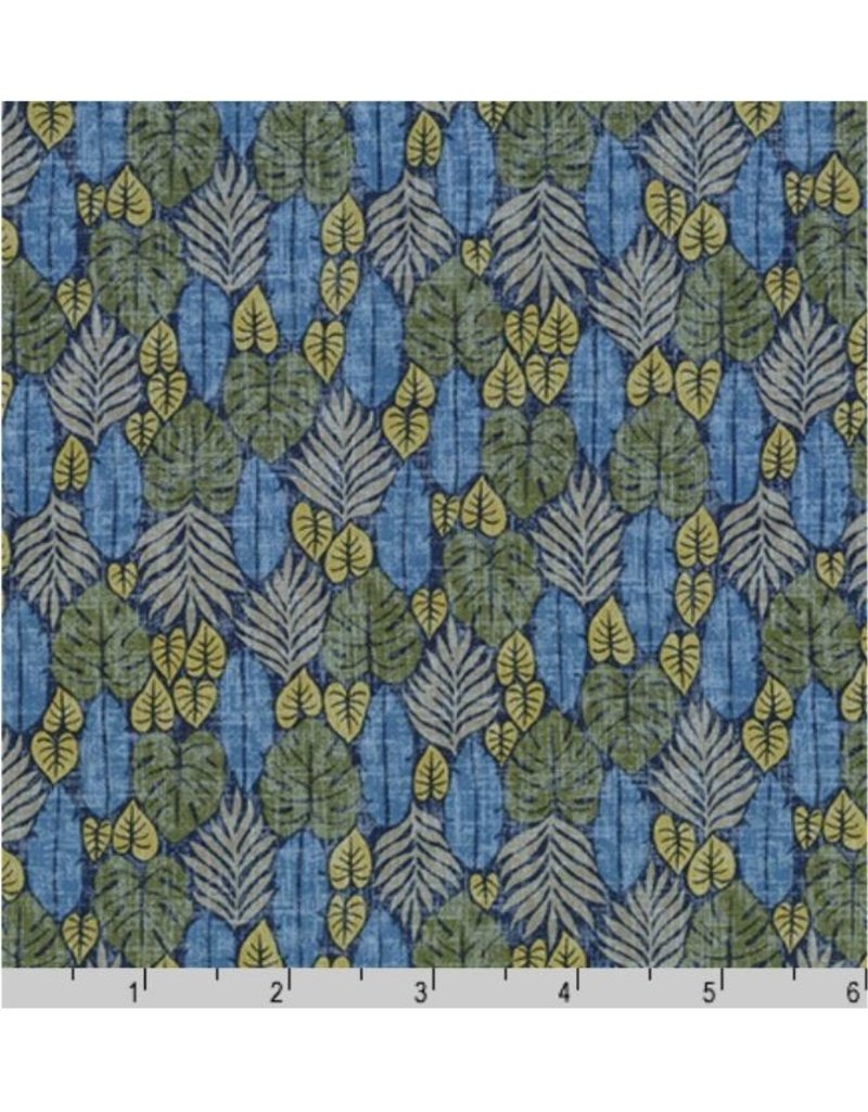 Sevenberry Island Paradise, Palm Fronds in Blue, Fabric Half-Yards SB-4142D2-1