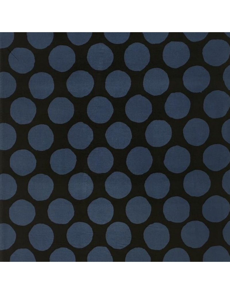 Kokka, Japan Corduroy 21 Wale in Black and Blue, Fabric Half-Yards