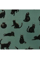 Cosmo, Japan Linen/Cotton Canvas, Black Cats on Green, Fabric Half-Yards AP-51308-3