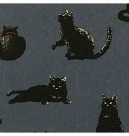 Cosmo, Japan Linen/Cotton Canvas, Black Cats on Blue, Fabric Half-Yards AP-51308-3