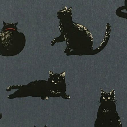 Cosmo, Japan Linen/Cotton Canvas, Black Cats on Blue, Fabric Half-Yards AP-51308-3