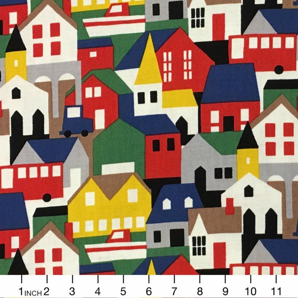 Hokkoh, Japan Canvas, Houses in Multi, Fabric Half-Yards 311-1230-1-A