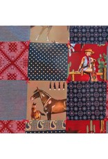 "Red Western Stroller Blanket, 40""x40"""