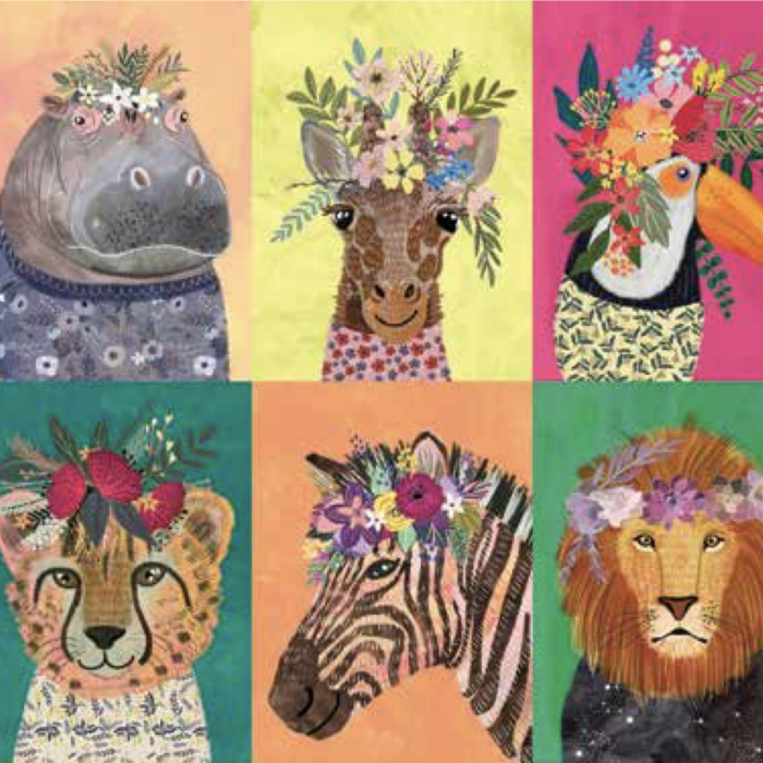PD's Mia Charro Collection Junglemania, Wildflowers in Multi, Dinner Napkin