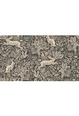 Rifle Paper Co. Linen/Cotton Canvas, Wildwood, Fable in Grey RP103-GY5C, Fabric Half-Yards