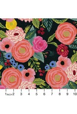 Rifle Paper Co. Linen/Cotton Canvas, English Garden, Juliet Rose in Navy, Fabric Half-Yards AB8066-022