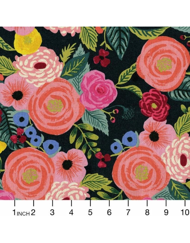 Rifle Paper Co. Linen/Cotton Canvas, English Garden, Juliet Rose in Navy, Fabric Half-Yards AB8066-022