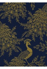 Rifle Paper Co. Linen/Cotton Canvas, Menagerie, Royal Peacock in Navy with Metallic, Fabric Half-Yards AB8042-012