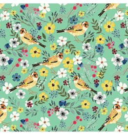 Mia Charro Birdie, Goldfinch in Seafoam, Fabric Half-Yards 129.103.04.1