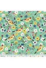 Mia Charro Birdie, Goldfinch in Seafoam, Fabric Half-Yards 129.103.04.1