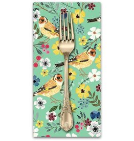 PD's Mia Charro Collection Birdie, Goldfinch in Seafoam, Dinner Napkin
