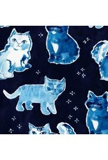 August Wren Blue Crush, Indigo Cats in Multi Blue, Fabric Half-Yards STELLA-DAW1298