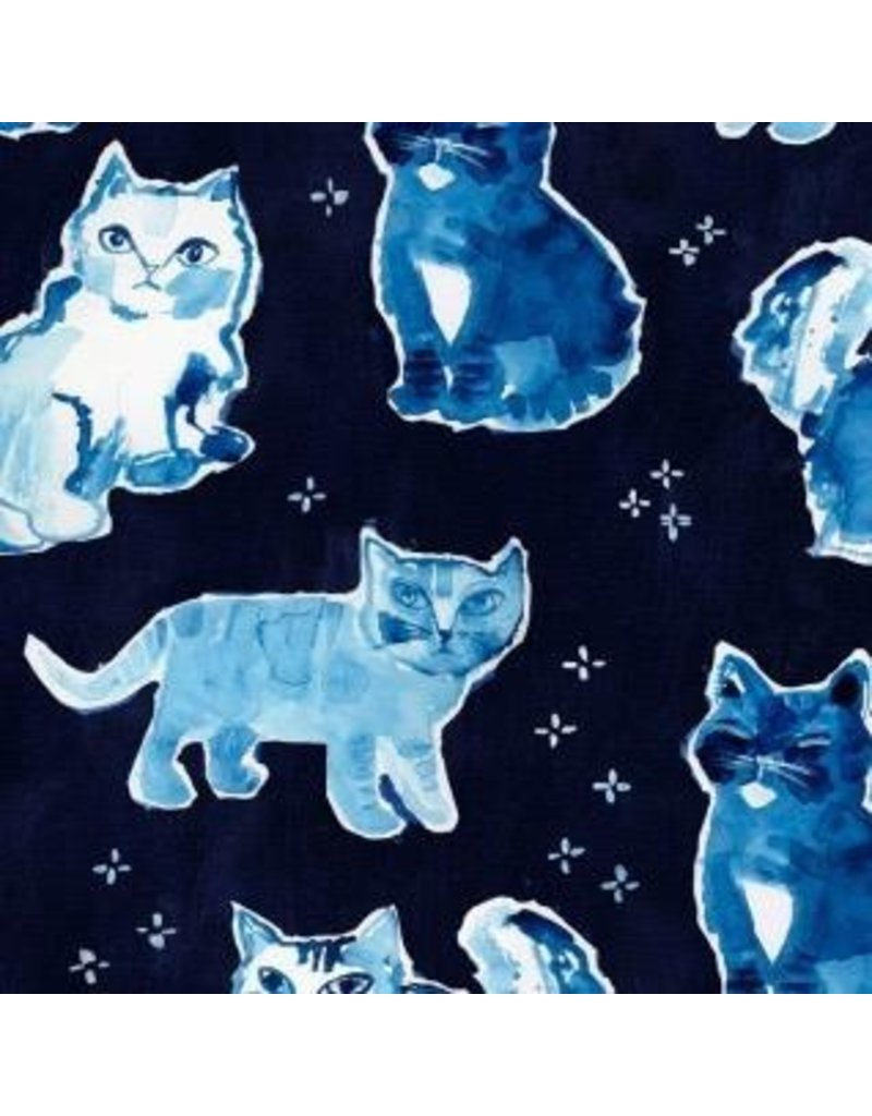 August Wren Blue Crush, Indigo Cats in Multi Blue, Fabric Half-Yards STELLA-DAW1298