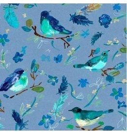 August Wren Blue Crush, Romantic Birds in Multi Blue, Fabric Half-Yards STELLA-DAW1287