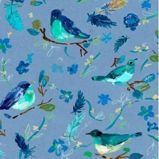 August Wren Blue Crush, Romantic Birds in Multi Blue, Fabric Half-Yards STELLA-DAW1287