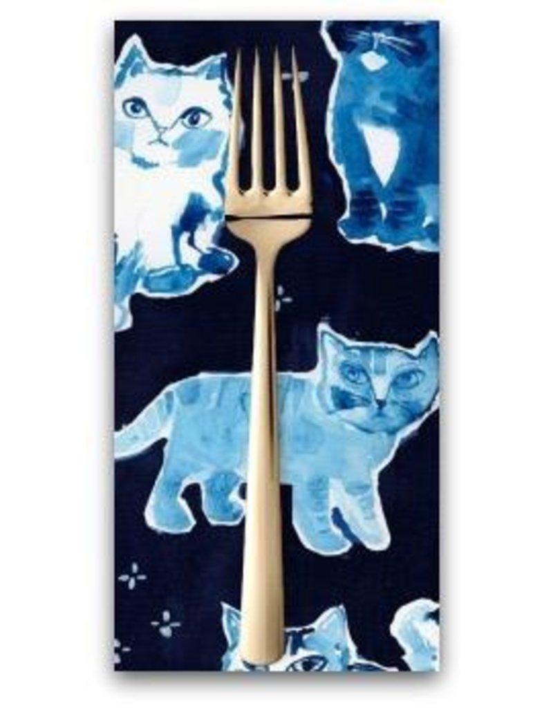 PD's August Wren Collection Blue Crush, Indigo Cats in Multi Blue, Dinner Napkin
