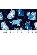 PD's August Wren Collection Blue Crush, Indigo Cats in Multi Blue, Dinner Napkin
