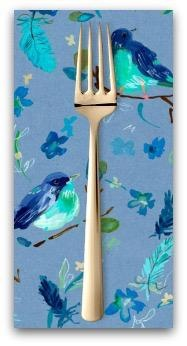 PD's August Wren Collection Blue Crush, Romantic Birds in Multi, Dinner Napkin