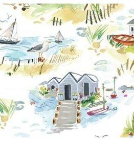 August Wren High Seas, Shoretown in White, Fabric Half-Yards STELLA-DAW1367