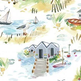 August Wren High Seas, Shoretown in White, Fabric Half-Yards STELLA-DAW1367