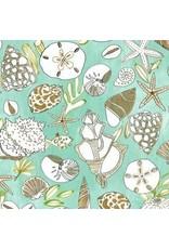 August Wren High Seas, Shells in Multi Green, Fabric Half-Yards STELLA-DAW1369