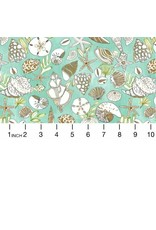 August Wren High Seas, Shells in Multi Green, Fabric Half-Yards STELLA-DAW1369