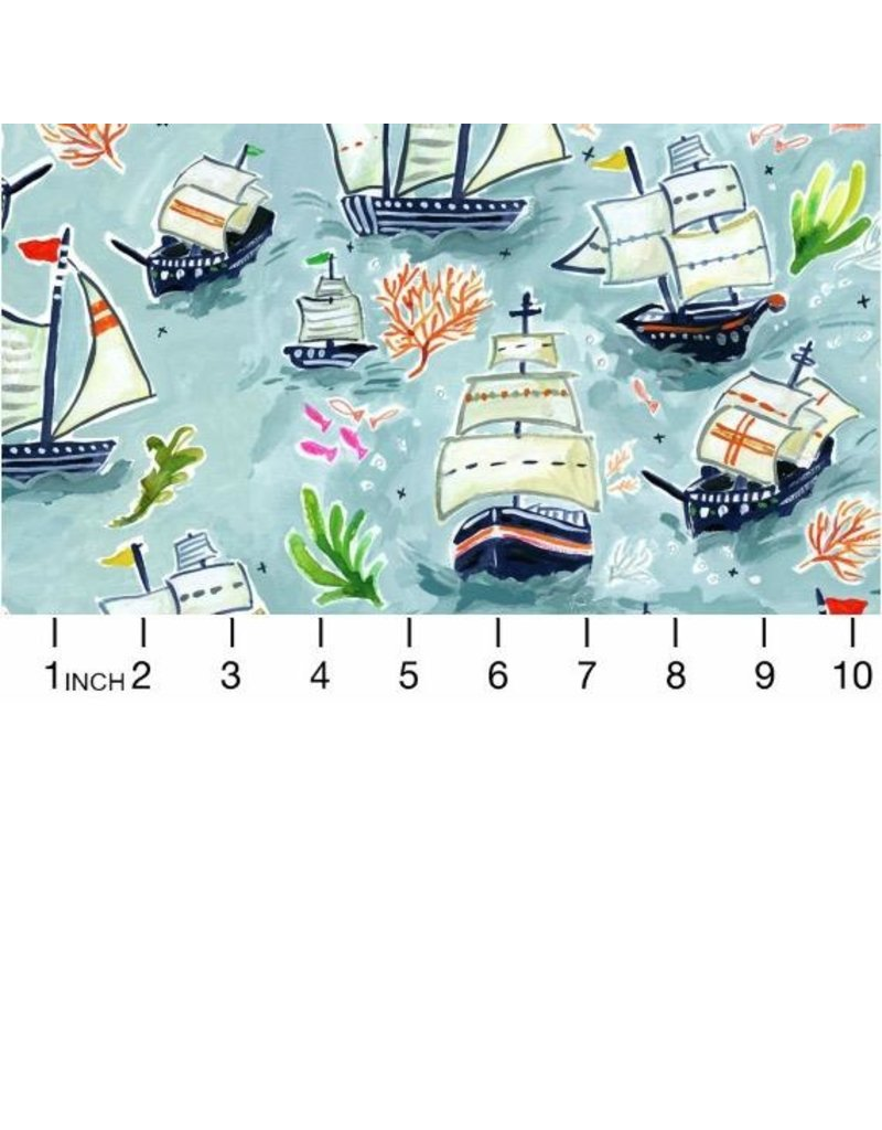 August Wren High Seas, Sail Ships in Multi, Fabric Half-Yards STELLA-DAW1363