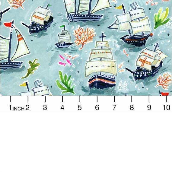 August Wren High Seas, Sail Ships in Multi, Fabric Half-Yards STELLA-DAW1363