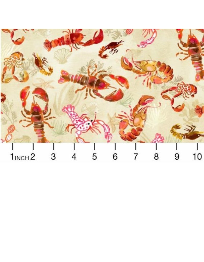 """August Wren High Seas, Lobsters in Multi, Fabric Half-Yards STELLA-DAW1368 (ONE 24"""" CUT REMAINING)"""