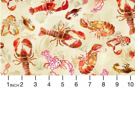 August Wren High Seas, Lobsters in Multi, Fabric Half-Yards STELLA-DAW1368