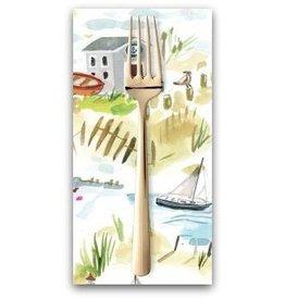 PD's August Wren Collection High Seas, Shoretown in White, Dinner Napkin