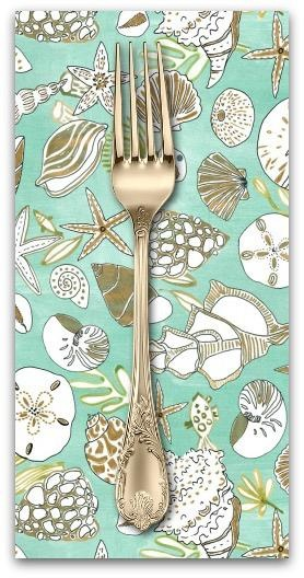 PD's August Wren Collection High Seas, Shells in Multi Green, Dinner Napkin