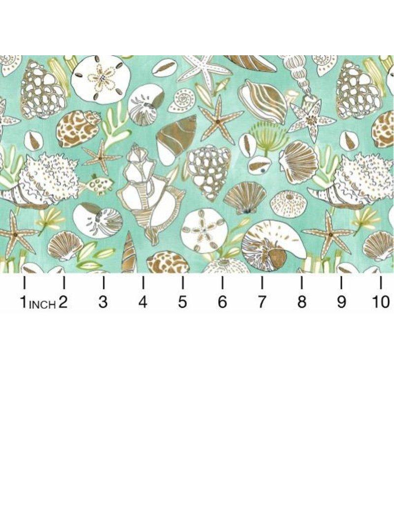 PD's August Wren Collection High Seas, Shells in Multi Green, Dinner Napkin