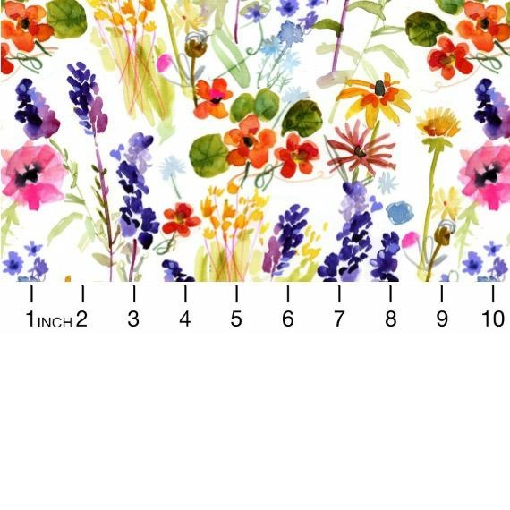PD's August Wren Collection High Seas, Wild Flowers in White Multi, Dinner Napkin