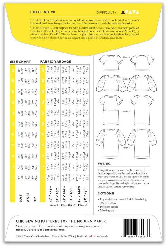 "Closet Case Patterns Closet Case ""Cielo Top & Dress"" Pattern"