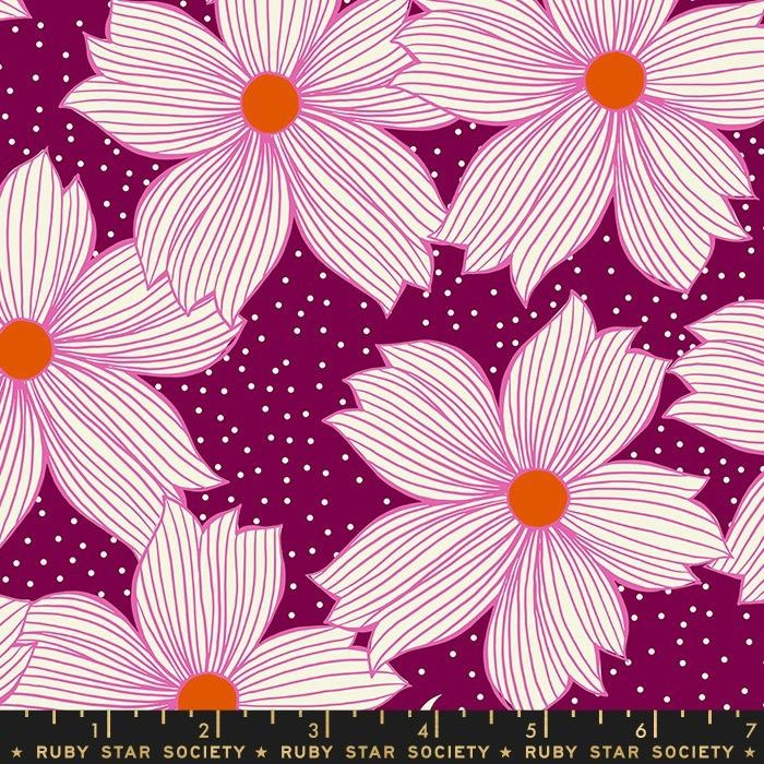 Sarah Watts Ruby Star Society, Crescent Floral in Purple Velvet, Fabric Half-Yards RS2004 15
