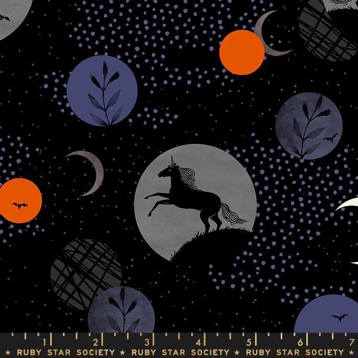 Sarah Watts Ruby Star Society, Crescent Unicorns in Black, Fabric Half-Yards RS2003 11