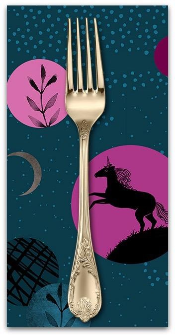PD's Ruby Star Society Collection Ruby Star Society, Crescent Unicorns in Dark Teal, Dinner Napkin