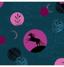 Sarah Watts Ruby Star Society, Crescent Unicorns in Dark Teal, Fabric Half-Yards RS2003 12