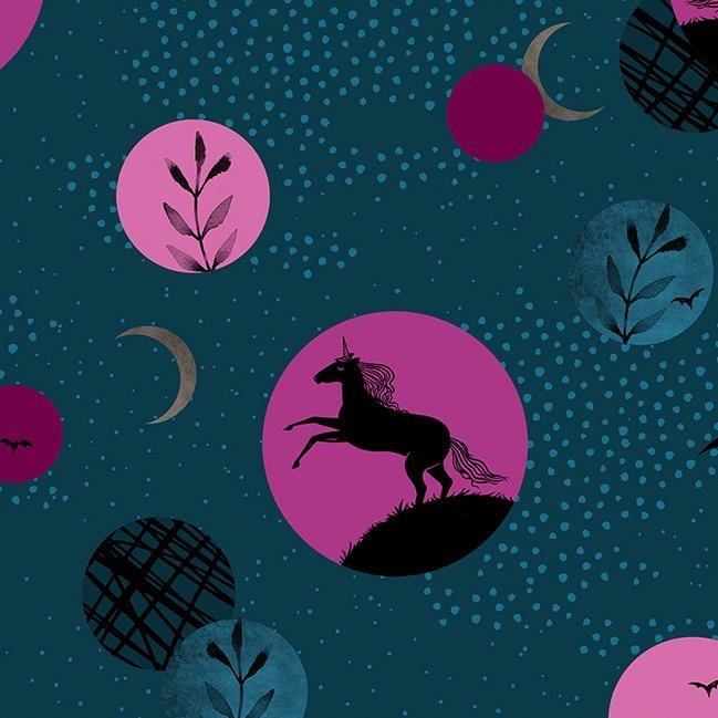 Sarah Watts Ruby Star Society, Crescent Unicorns in Dark Teal, Fabric Half-Yards RS2003 12
