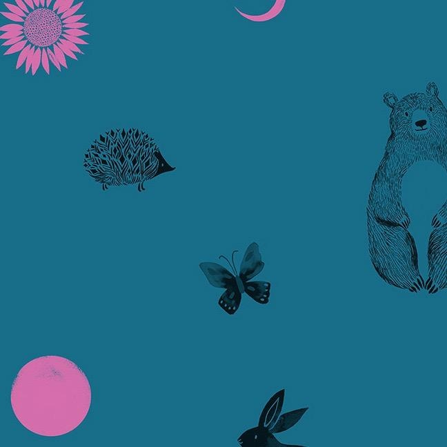 Sarah Watts Ruby Star Society, Crescent Animal Friends in Teal, Fabric Half-Yards RS2002 12